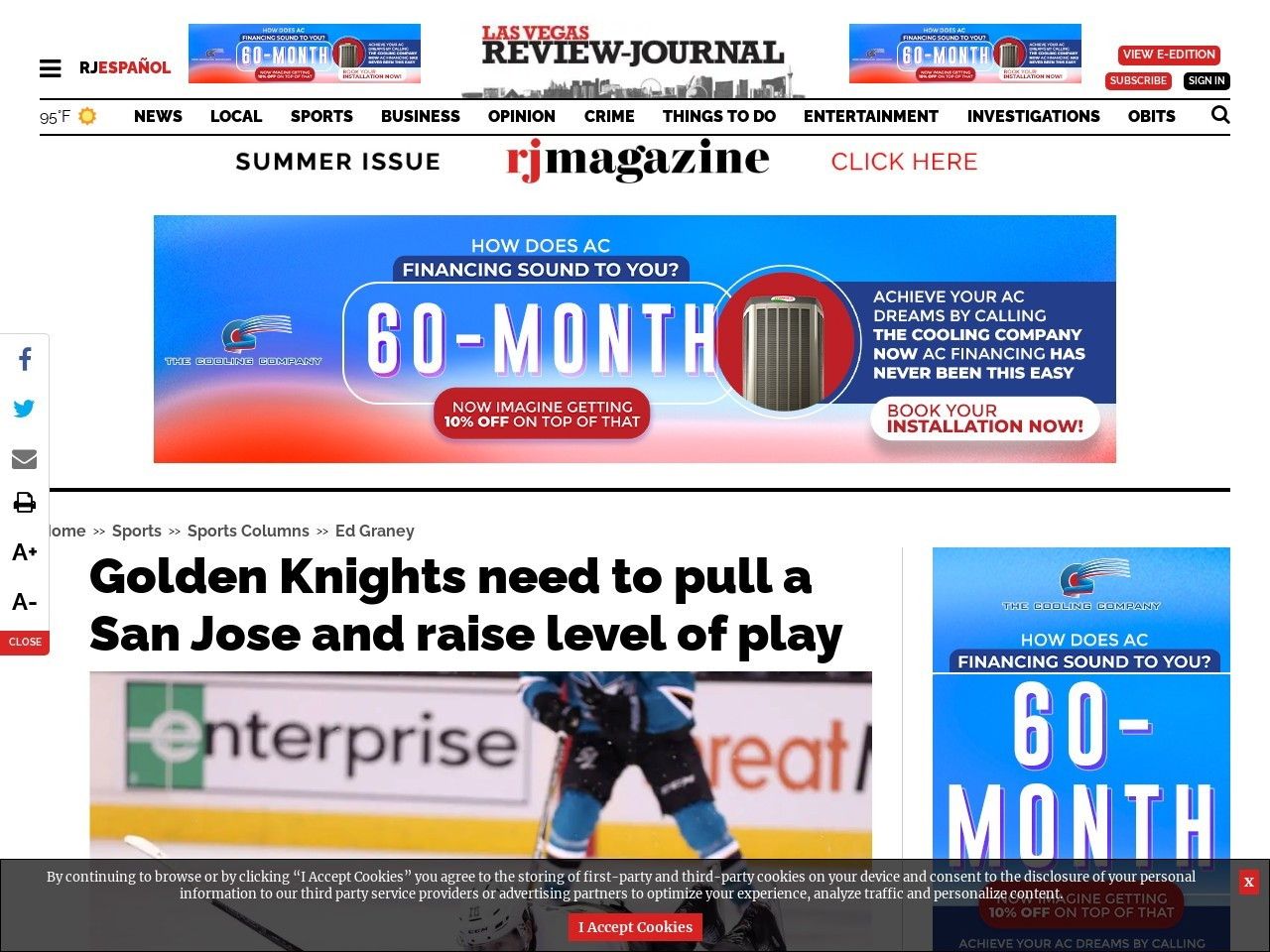 Golden Knights need to pull a San Jose and raise level of play