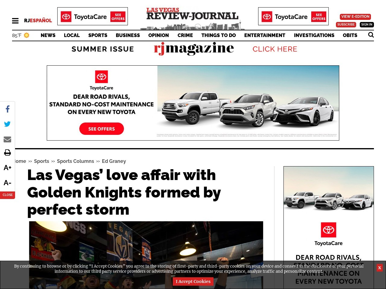 Las Vegas' love affair with Golden Knights formed by perfect storm