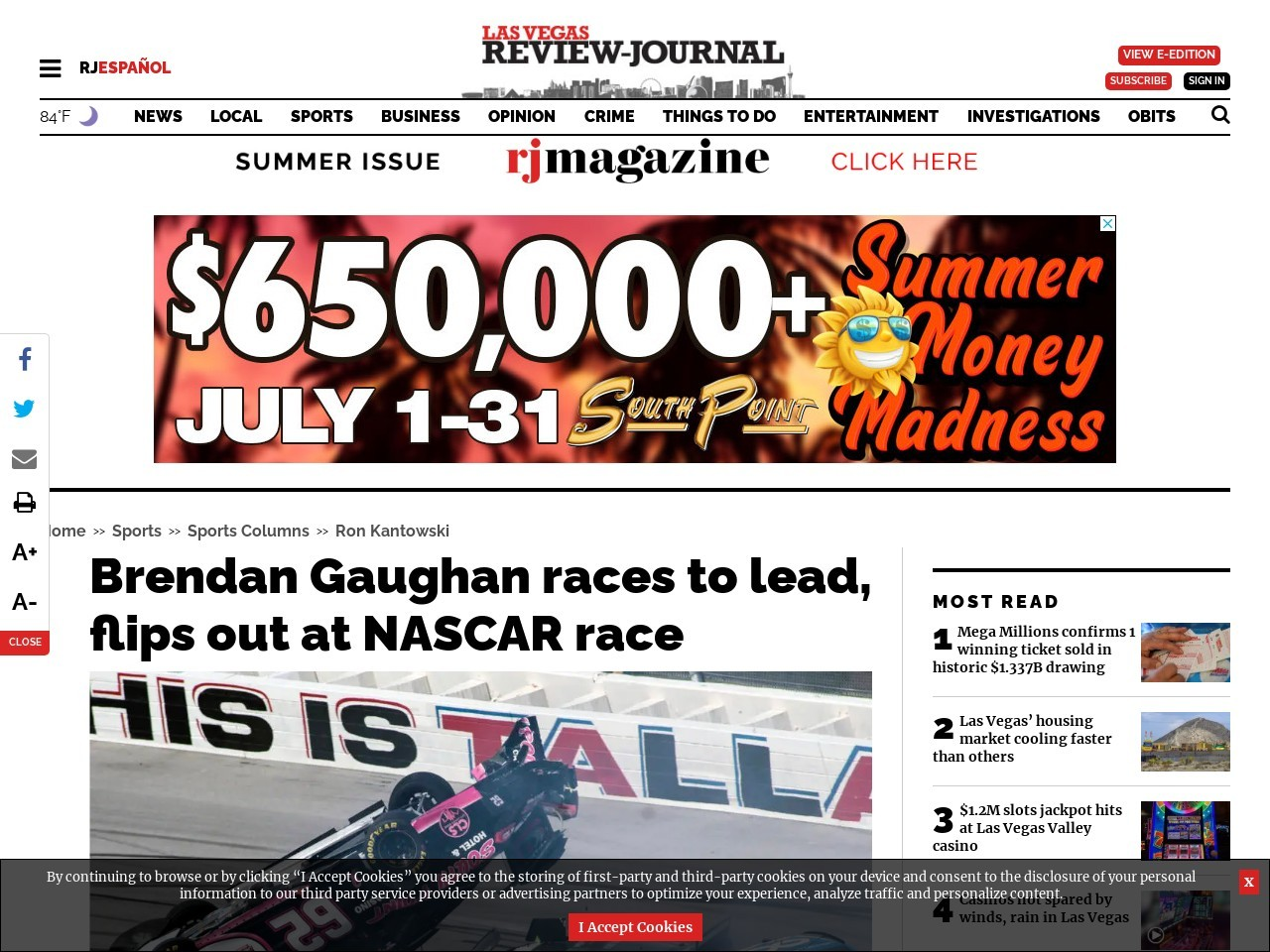 Brendan Gaughan races to lead, flips out at NASCAR race