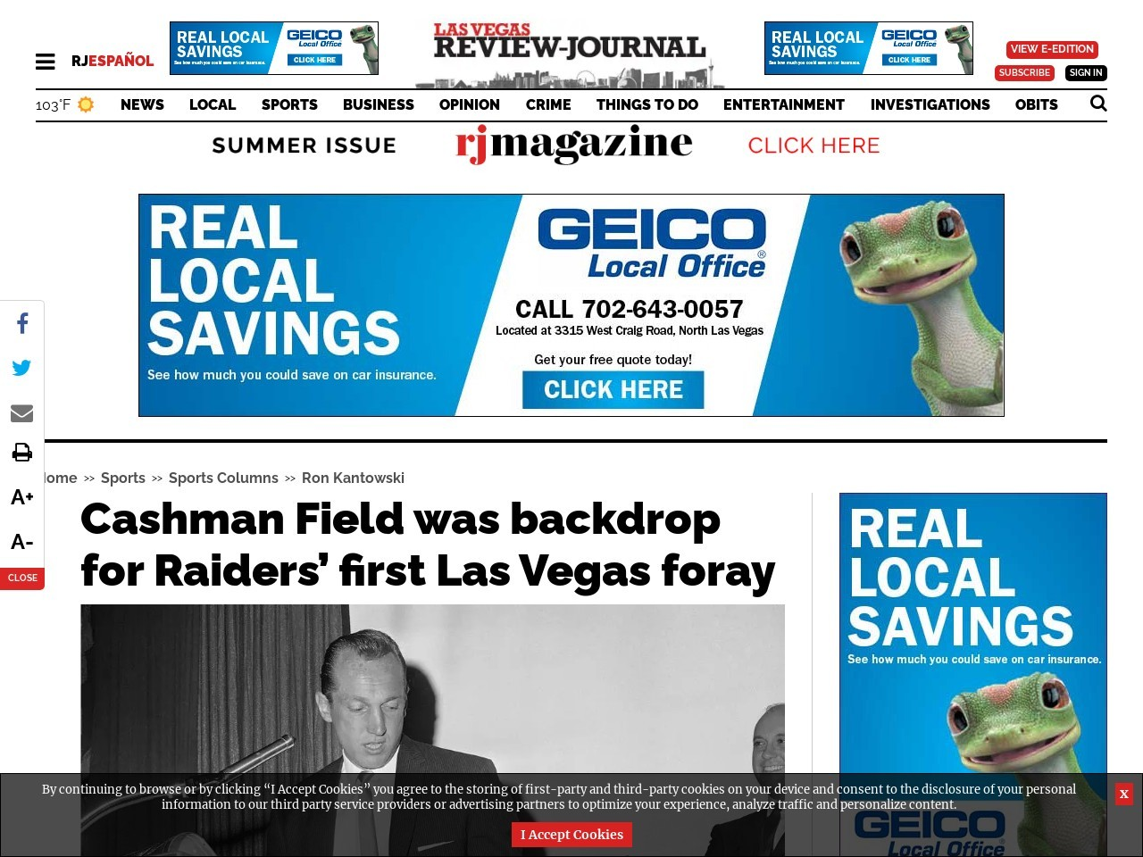 Cashman Field was backdrop for Raiders' first Las Vegas foray
