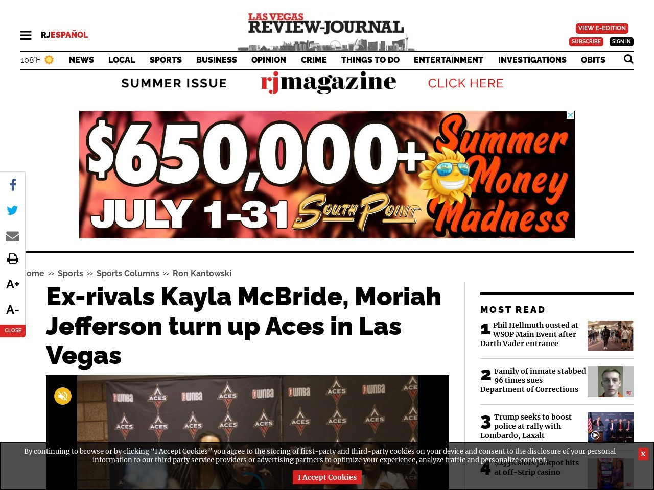Ex-rivals Kayla McBride, Moriah Jefferson turn up Aces in Las Vegas