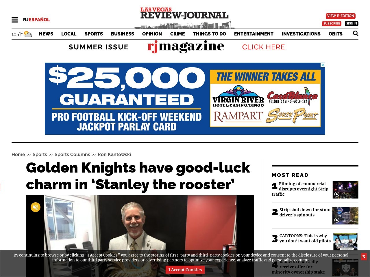 Golden Knights have good-luck charm in 'Stanley the rooster'