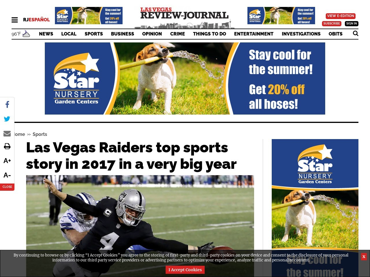 Las Vegas Raiders top sports story in 2017 in a very big year