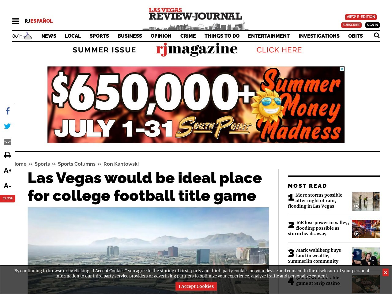 Las Vegas would be ideal place for college football title game