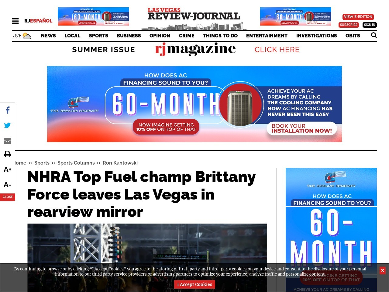 NHRA Top Fuel champ Brittany Force leaves Las Vegas in rearview mirror