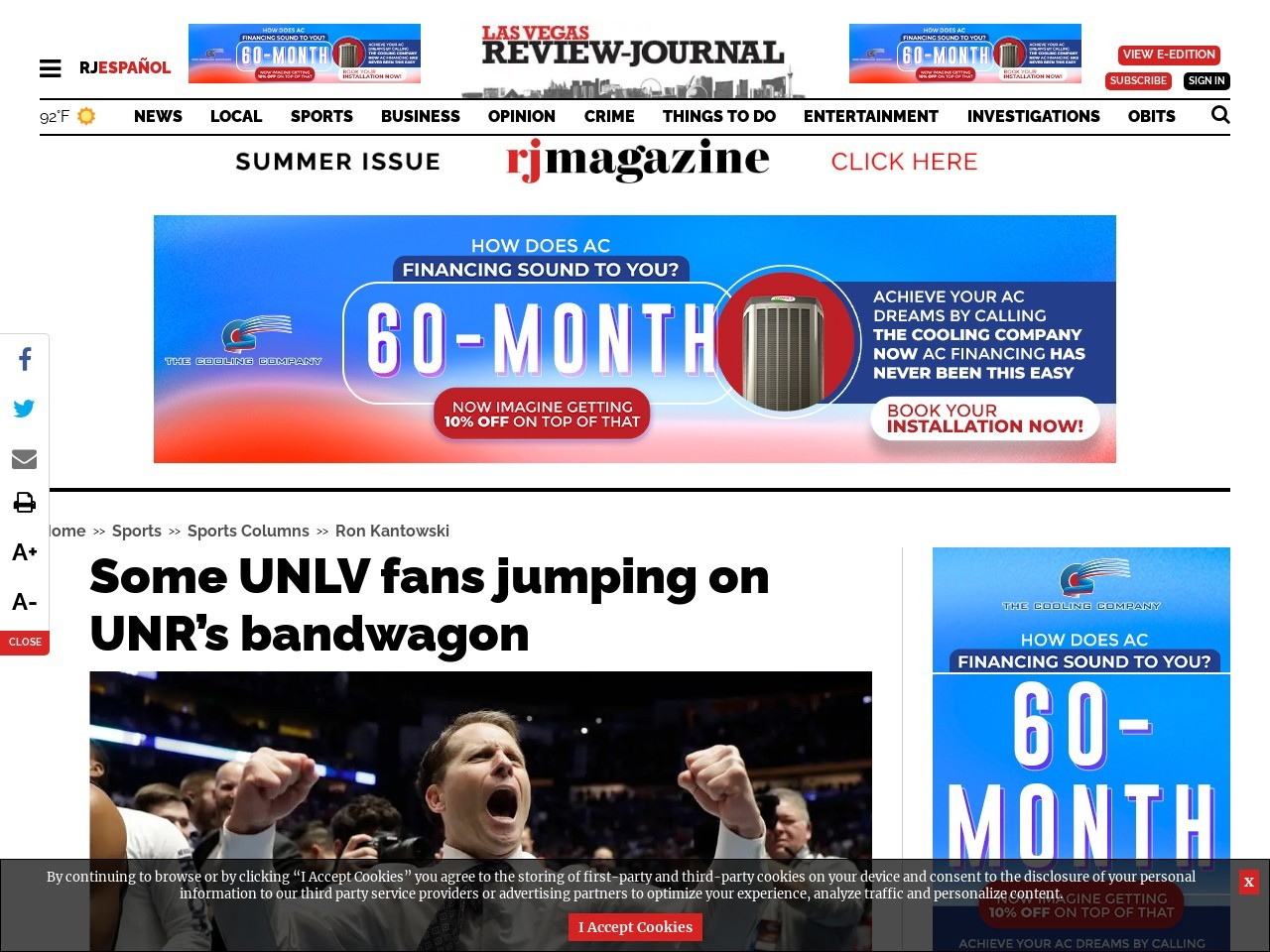 Some UNLV fans jumping on UNR's bandwagon
