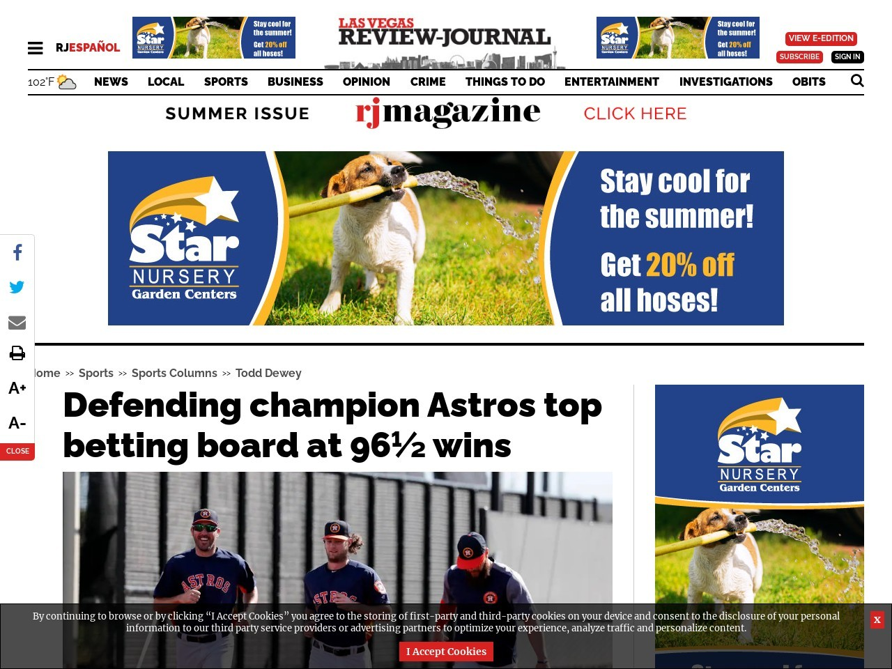 Defending champion Astros top betting board at 96½ wins