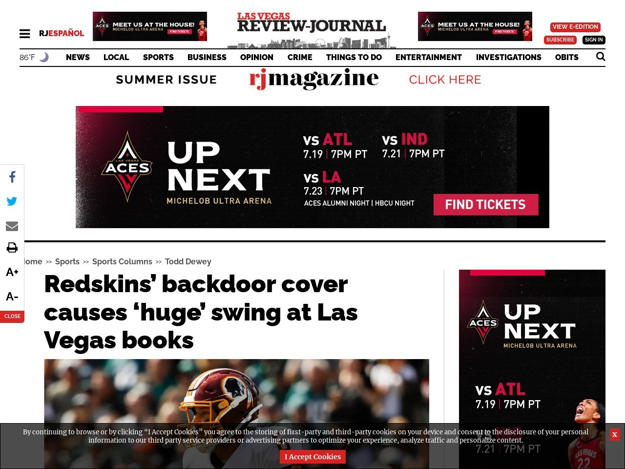 Redskins' backdoor cover causes 'huge' swing at Las Vegas books