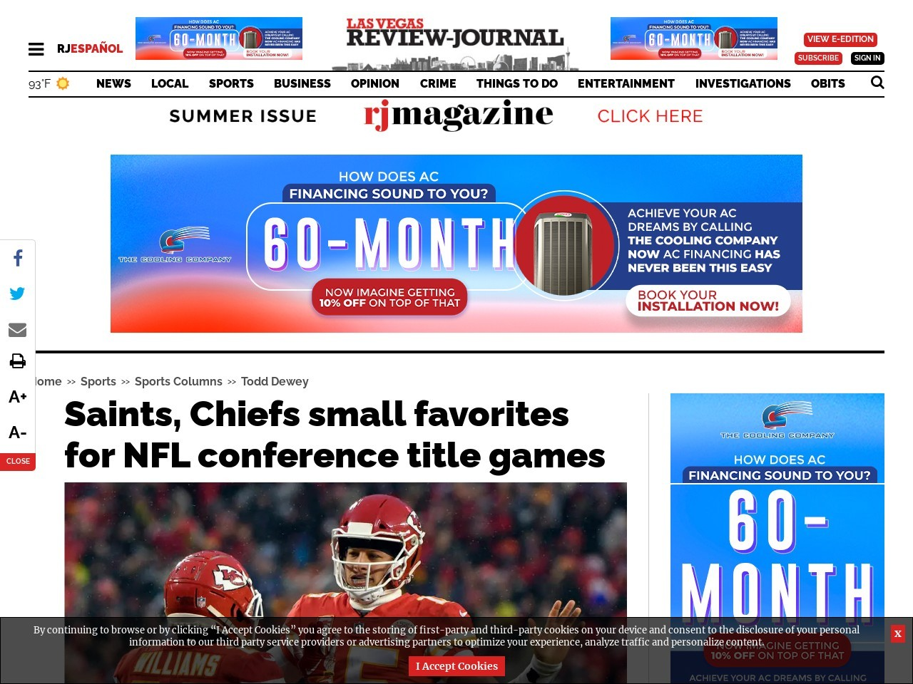 Saints, Chiefs small favorites for NFL conference title games
