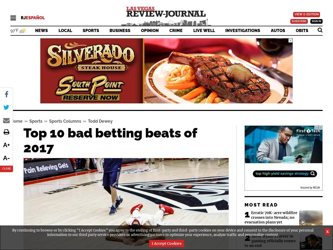 Top 10 bad betting beats of 2017