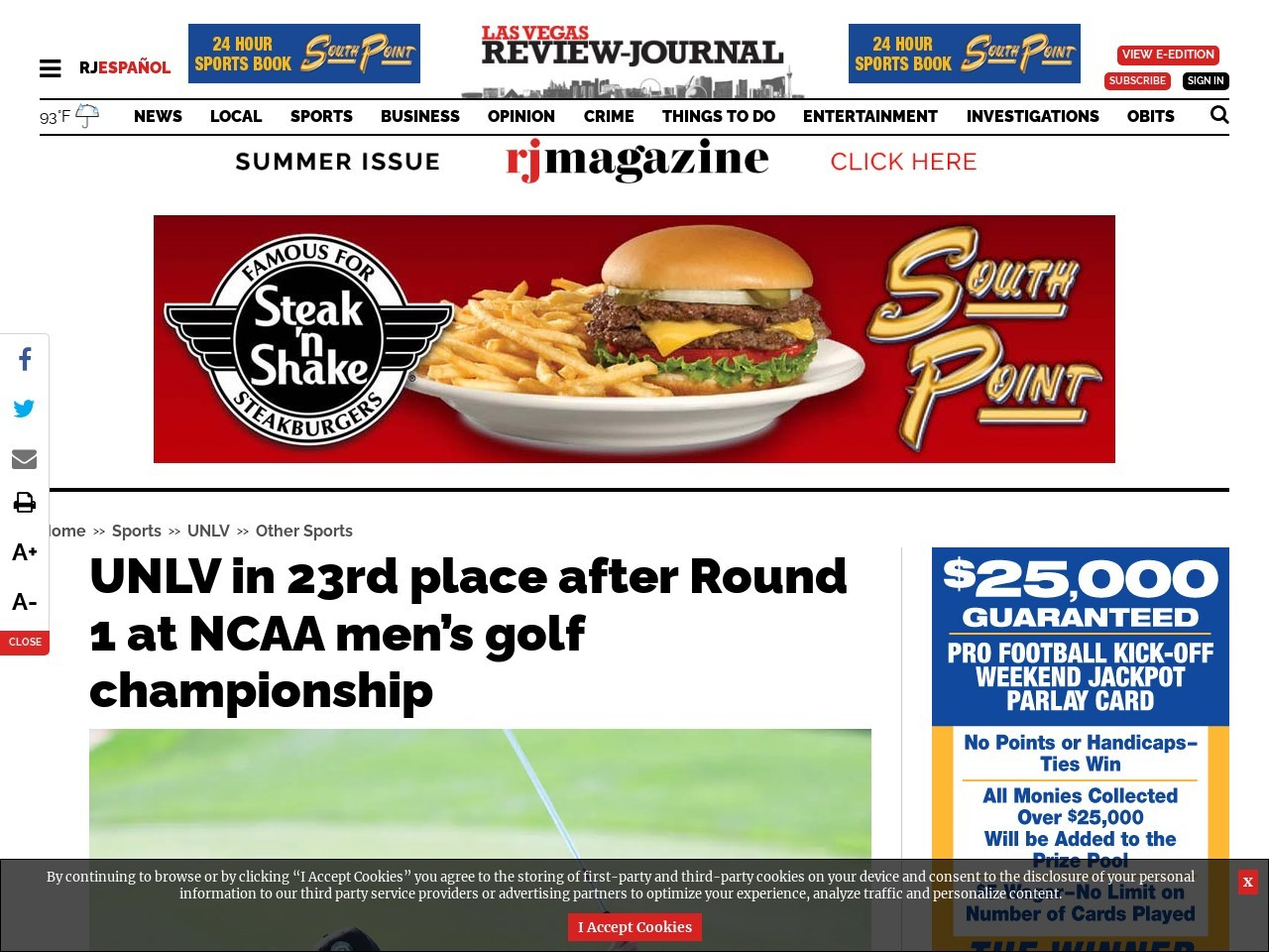 UNLV in 23rd place after Round 1 at NCAA men's golf championship
