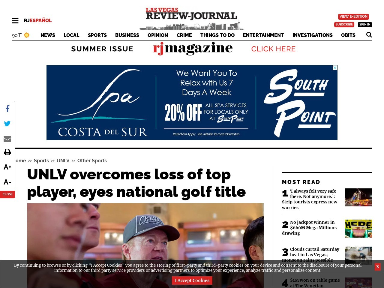 UNLV overcomes loss of top player, eyes national golf title