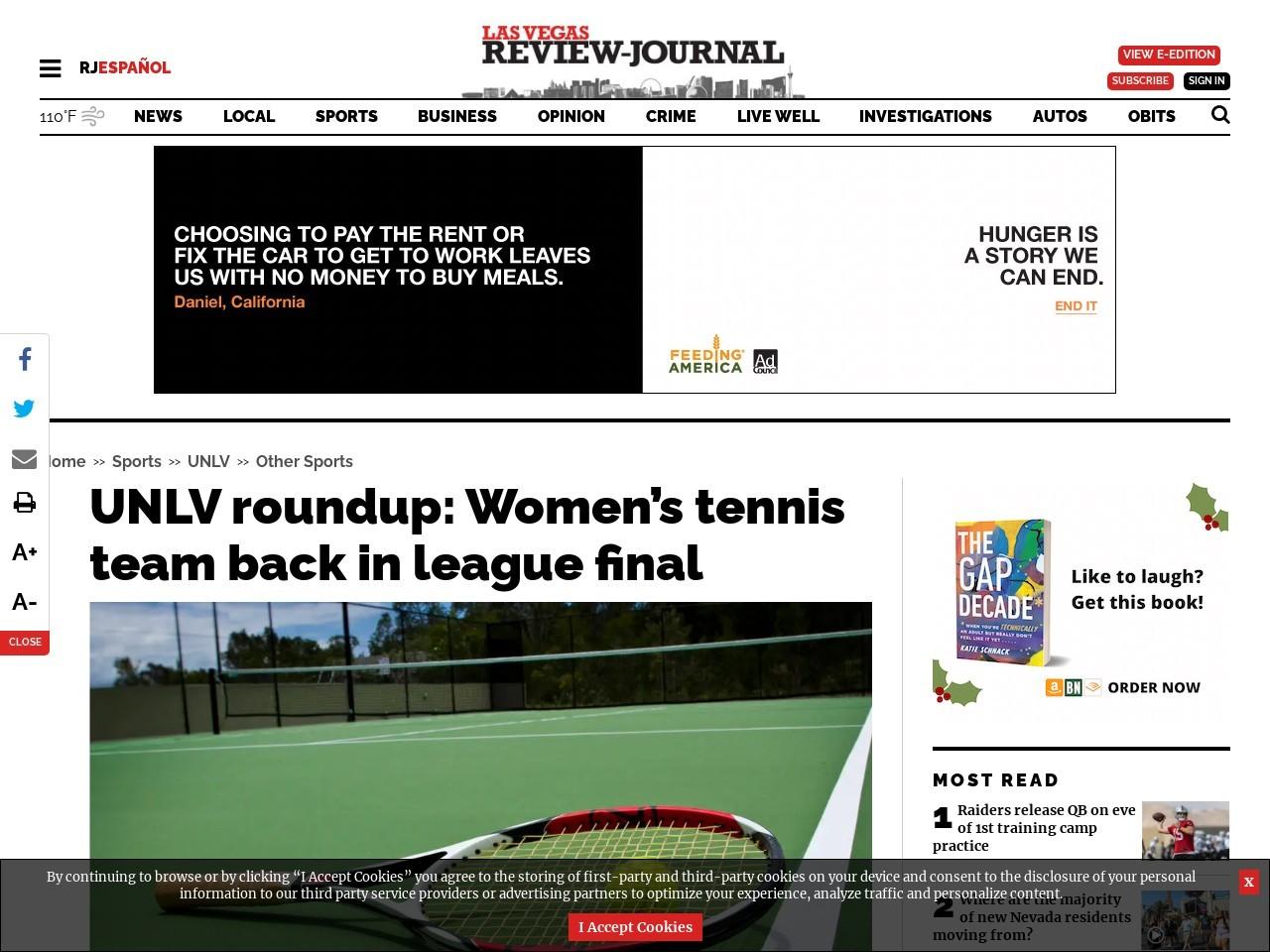 UNLV roundup: Women's tennis team back in league final