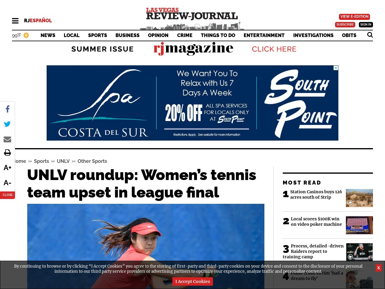 UNLV roundup: Women's tennis team upset in league final