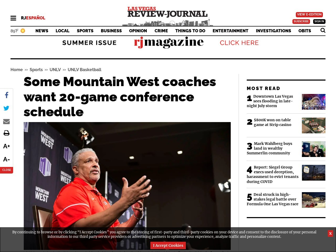 Some Mountain West coaches want 20-game conference schedule
