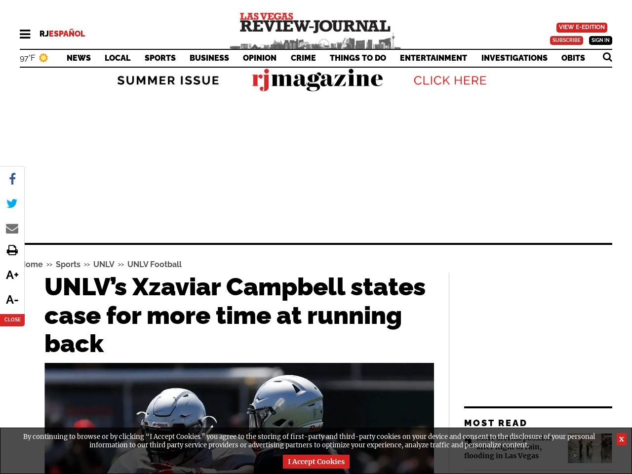 UNLV's Xzaviar Campbell states case for more time at running back