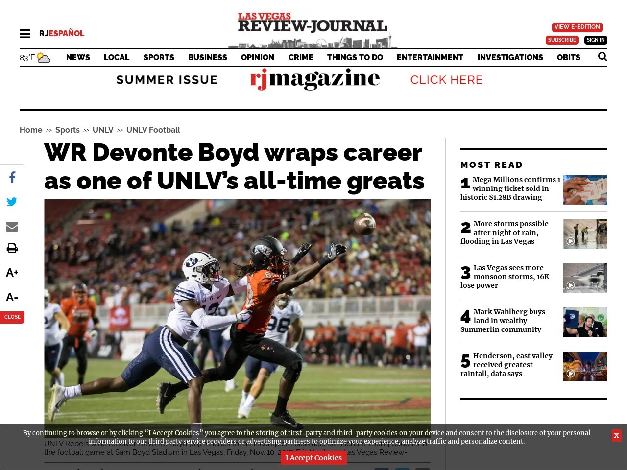 WR Devonte Boyd wraps career as one of UNLV's all-time greats