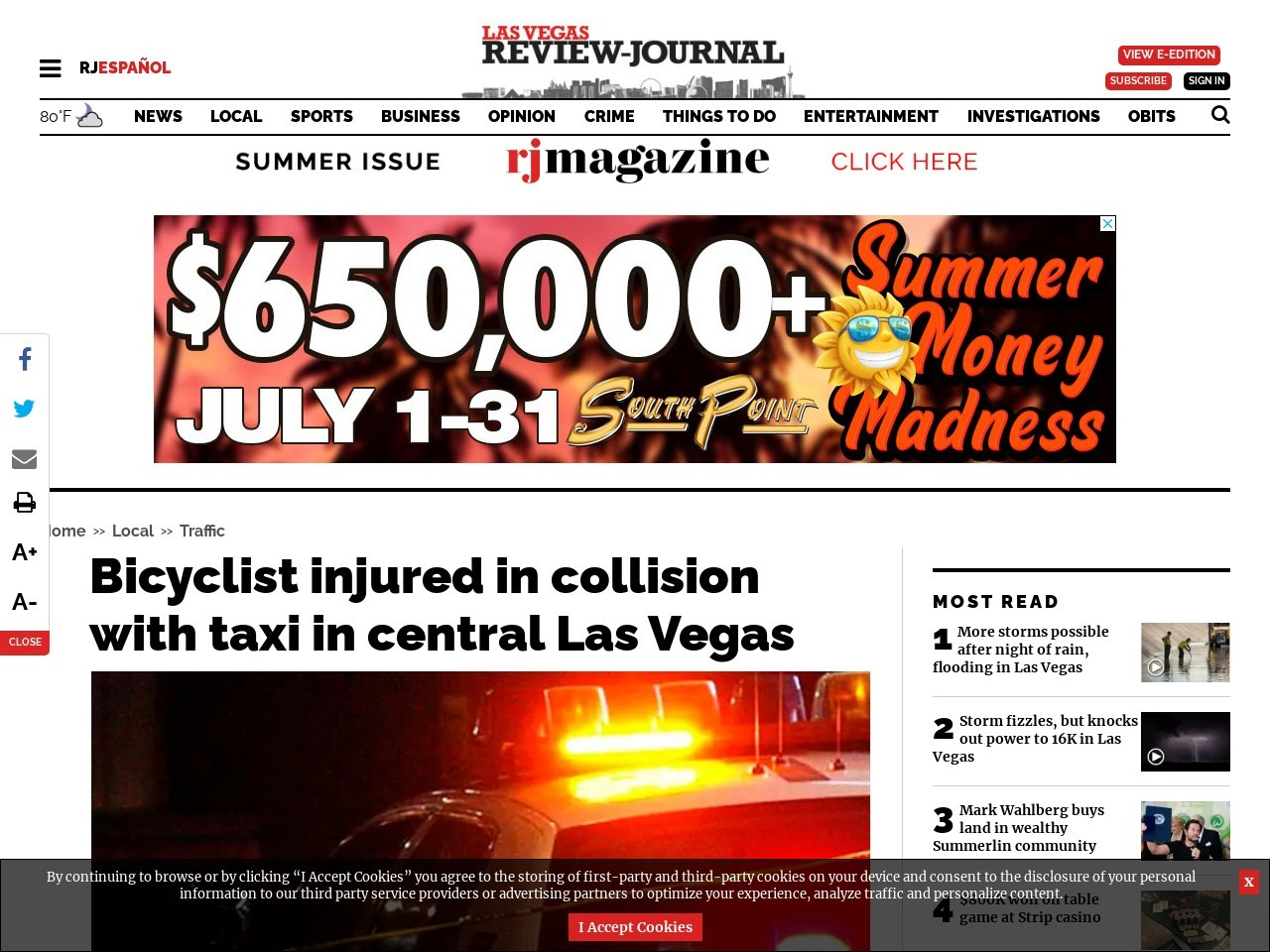 Bicyclist injured in collision with taxi in central Las Vegas