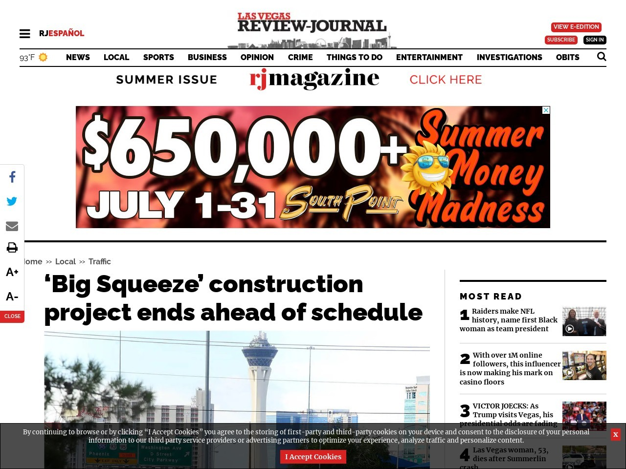 'Big Squeeze' construction project ends ahead of schedule
