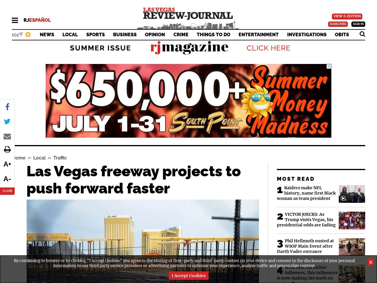 Las Vegas freeway projects to push forward faster