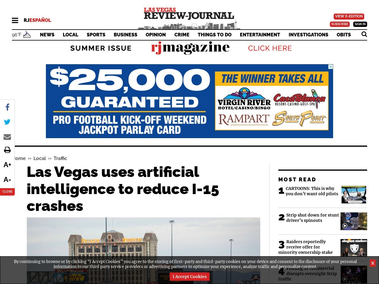 Las Vegas uses artificial intelligence to reduce interstate crashes