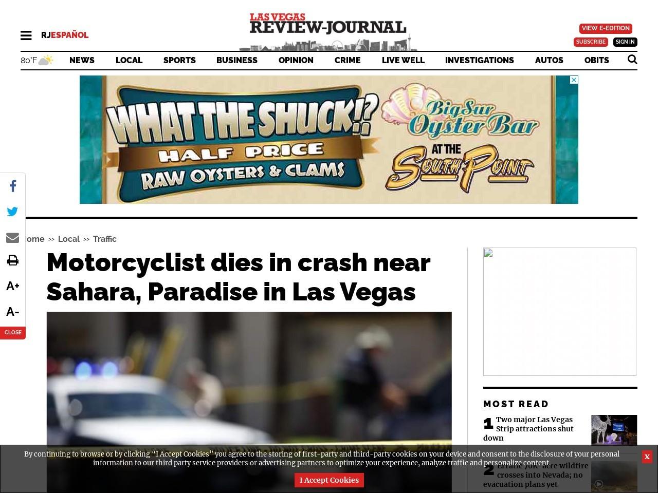 Motorcyclist dies in crash near Sahara, Paradise in Las Vegas