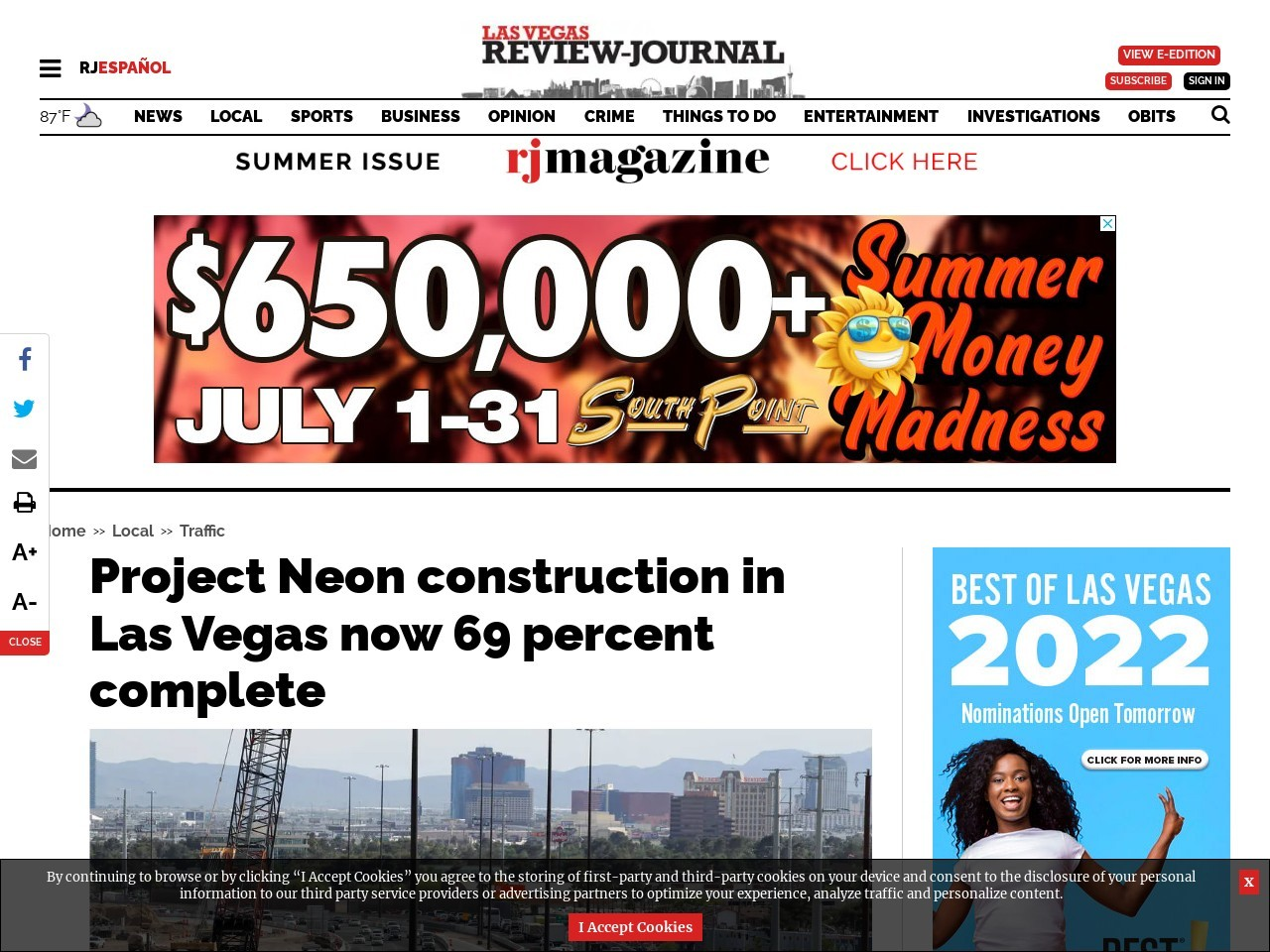 Project Neon construction in Las Vegas now 69 percent complete