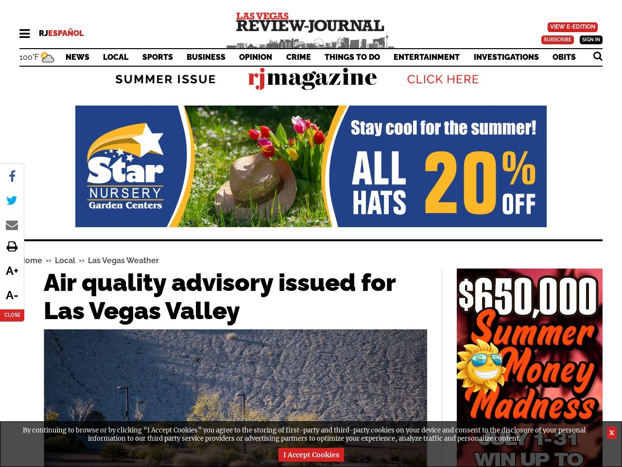 Air quality advisory issued for Las Vegas Valley