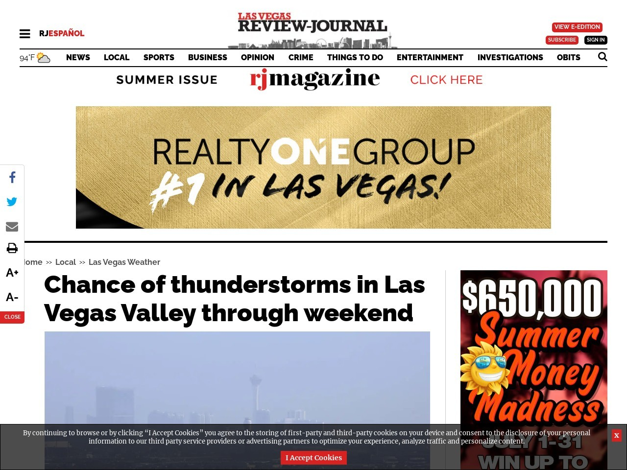 Chance of thunderstorms in Las Vegas Valley through weekend