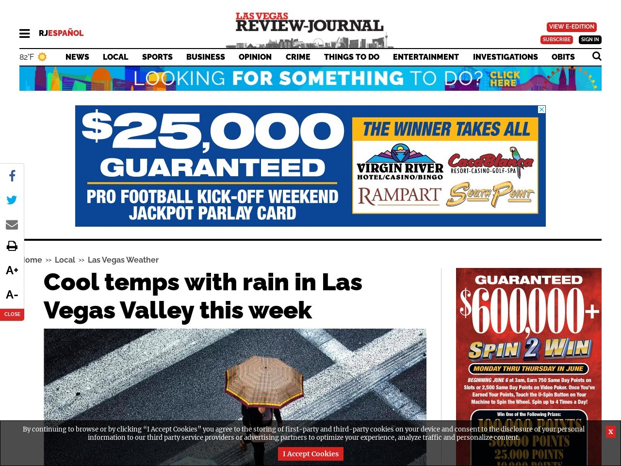 Cool temps with rain in Las Vegas Valley this week