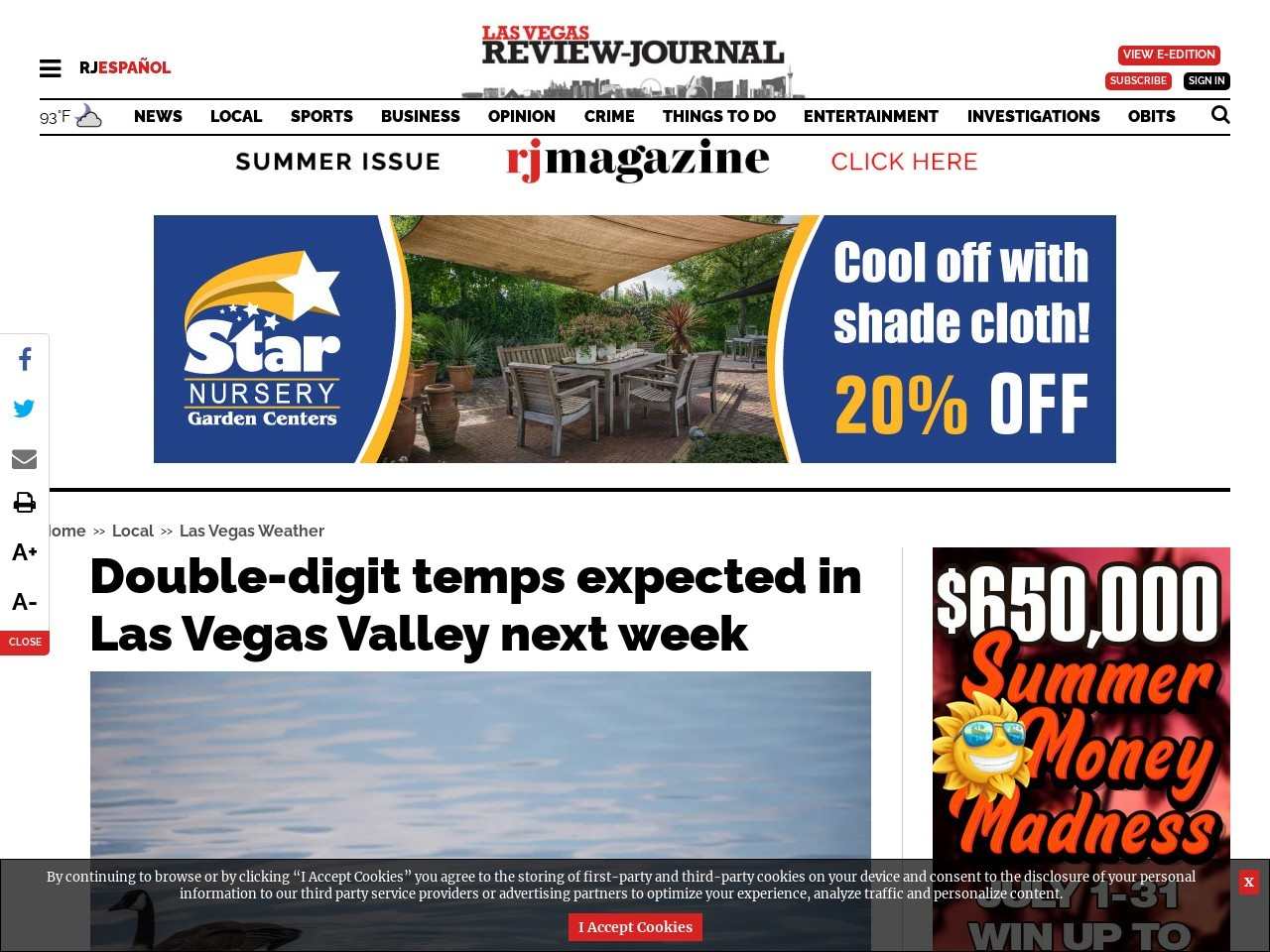 Double-digit temps expected in Las Vegas Valley next week