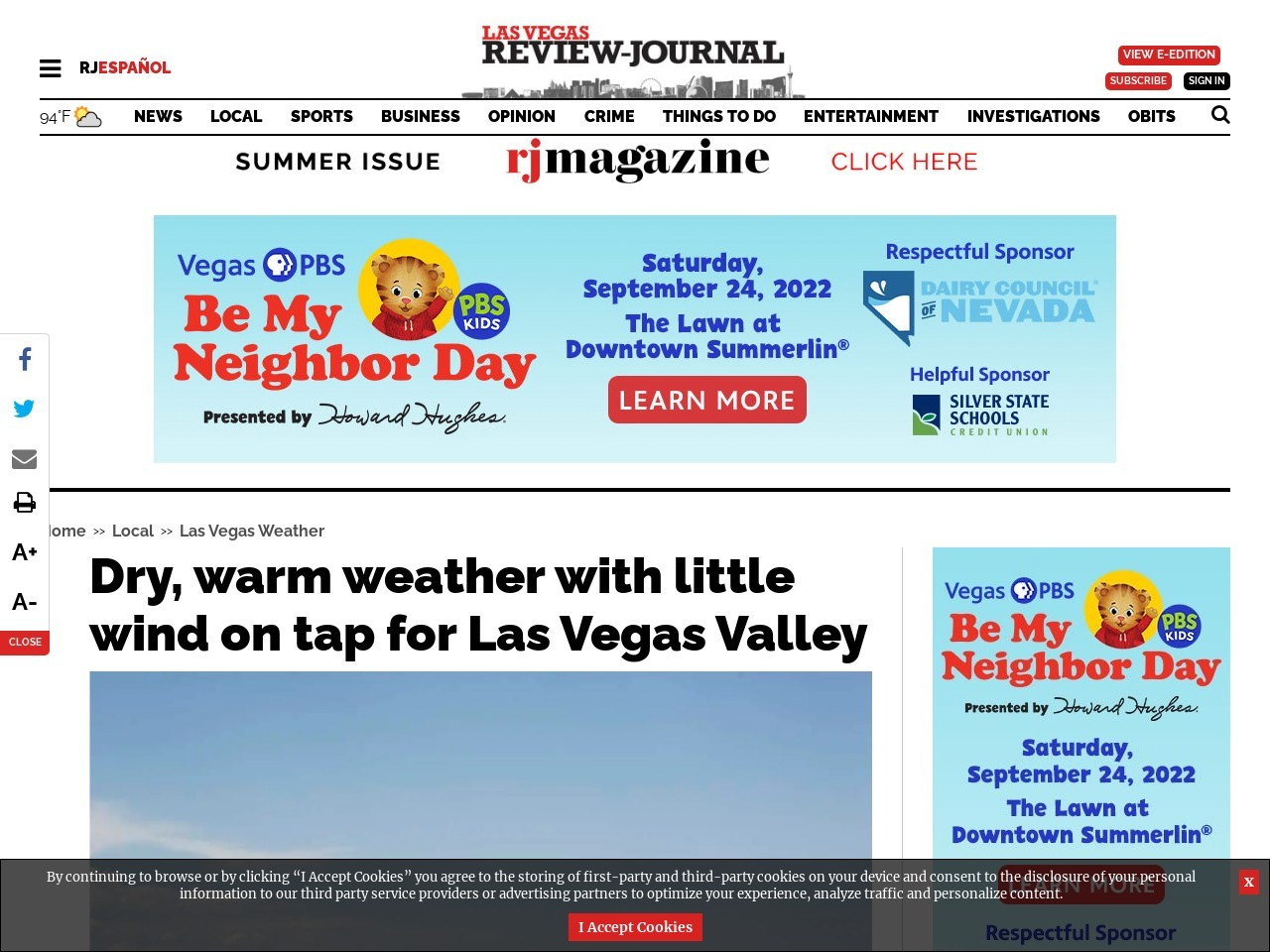 Dry, warm weather, with little wind on tap for Las Vegas Valley