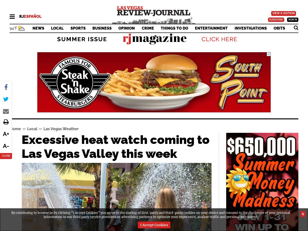 Excessive heat watch coming to Las Vegas Valley this week