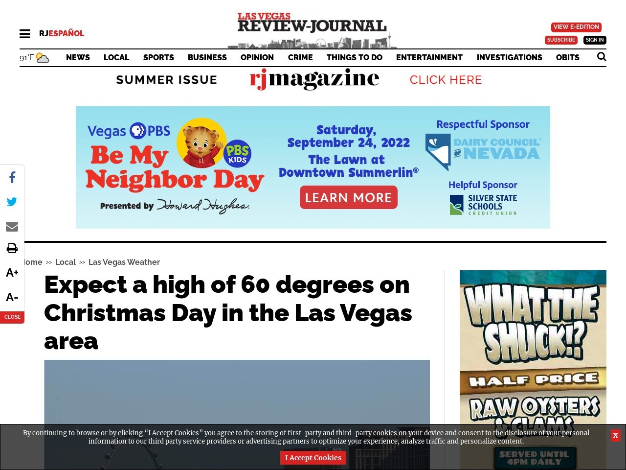 Expect a high of 60 degrees on Christmas Day in the Las Vegas area