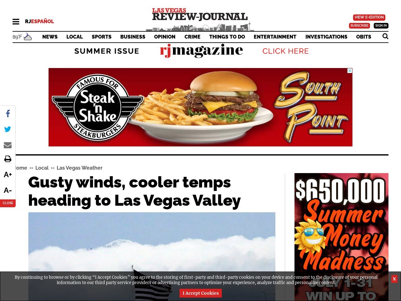 Gusty winds, cooler temps heading to Las Vegas Valley
