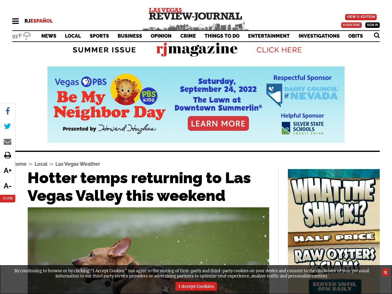 Hotter temps returning to Las Vegas Valley this weekend
