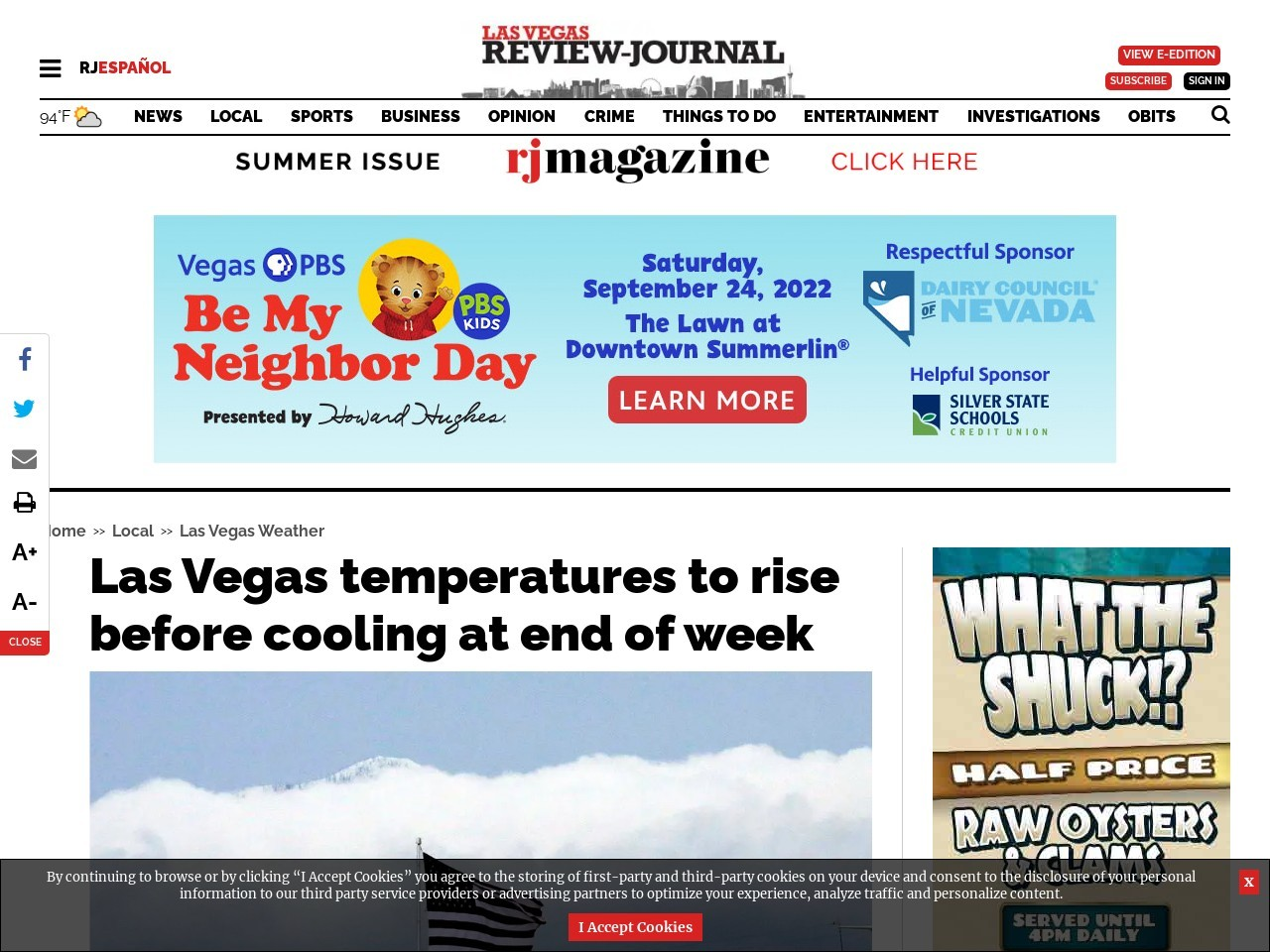 Las Vegas temperatures to rise before cooling at end of week
