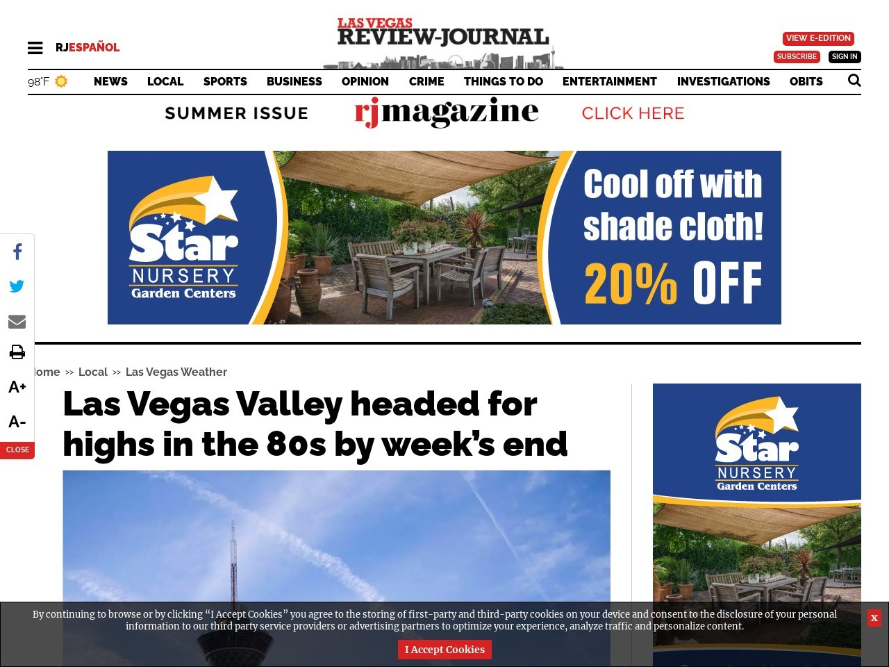 Las Vegas Valley headed for highs in the 80s by week's end