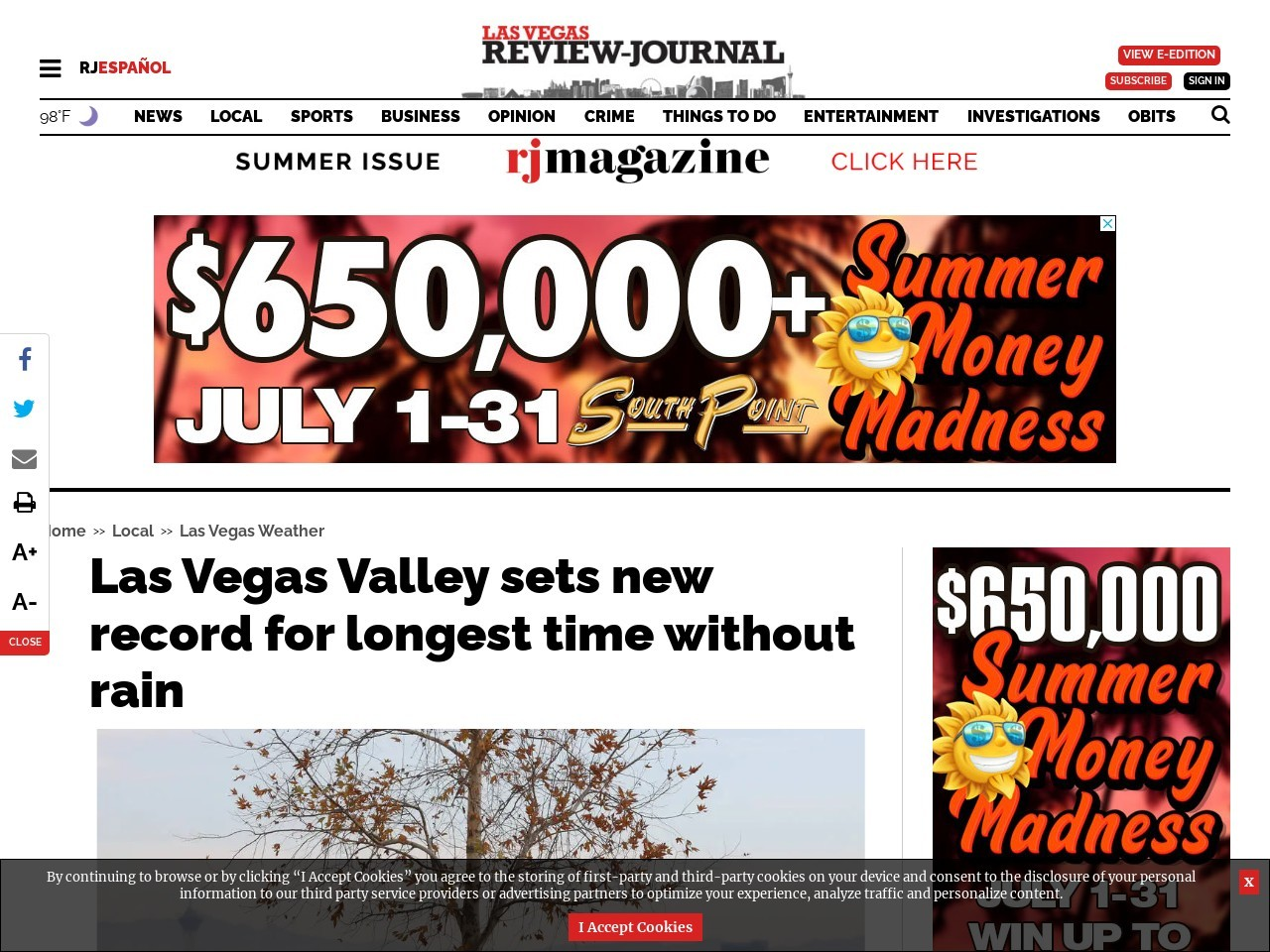 Las Vegas Valley sets new record for longest time without rain