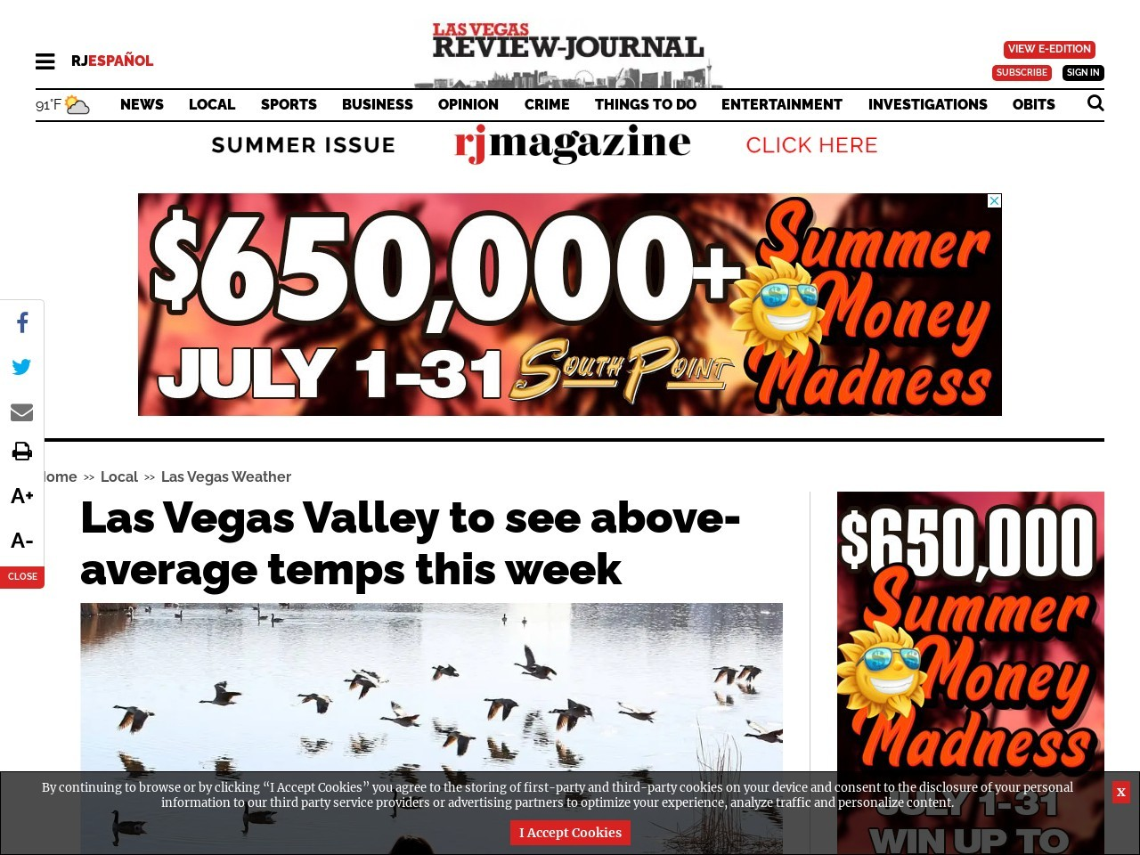 Las Vegas Valley to see above-average temps this week