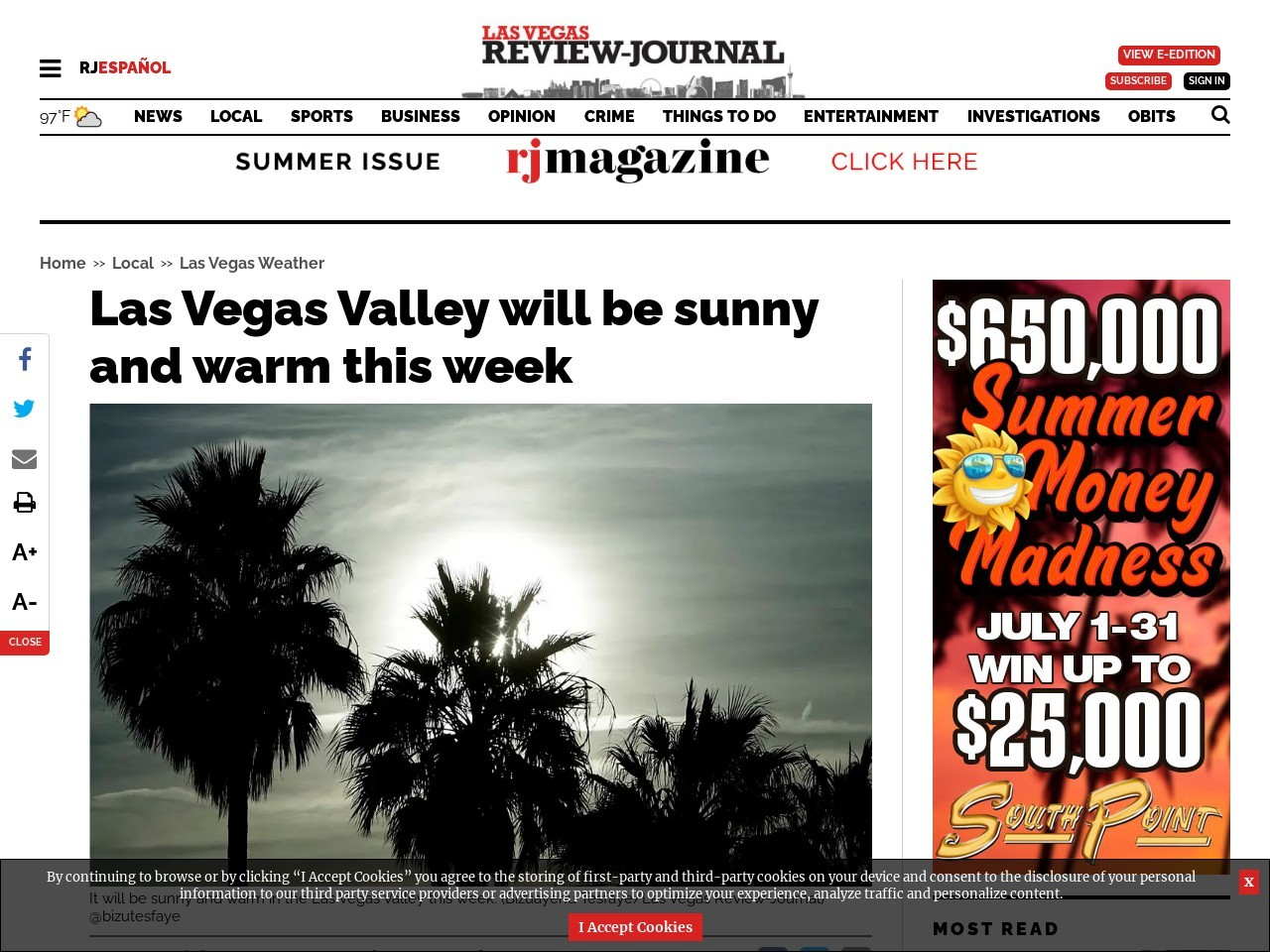 Las Vegas Valley will be sunny and warm this week