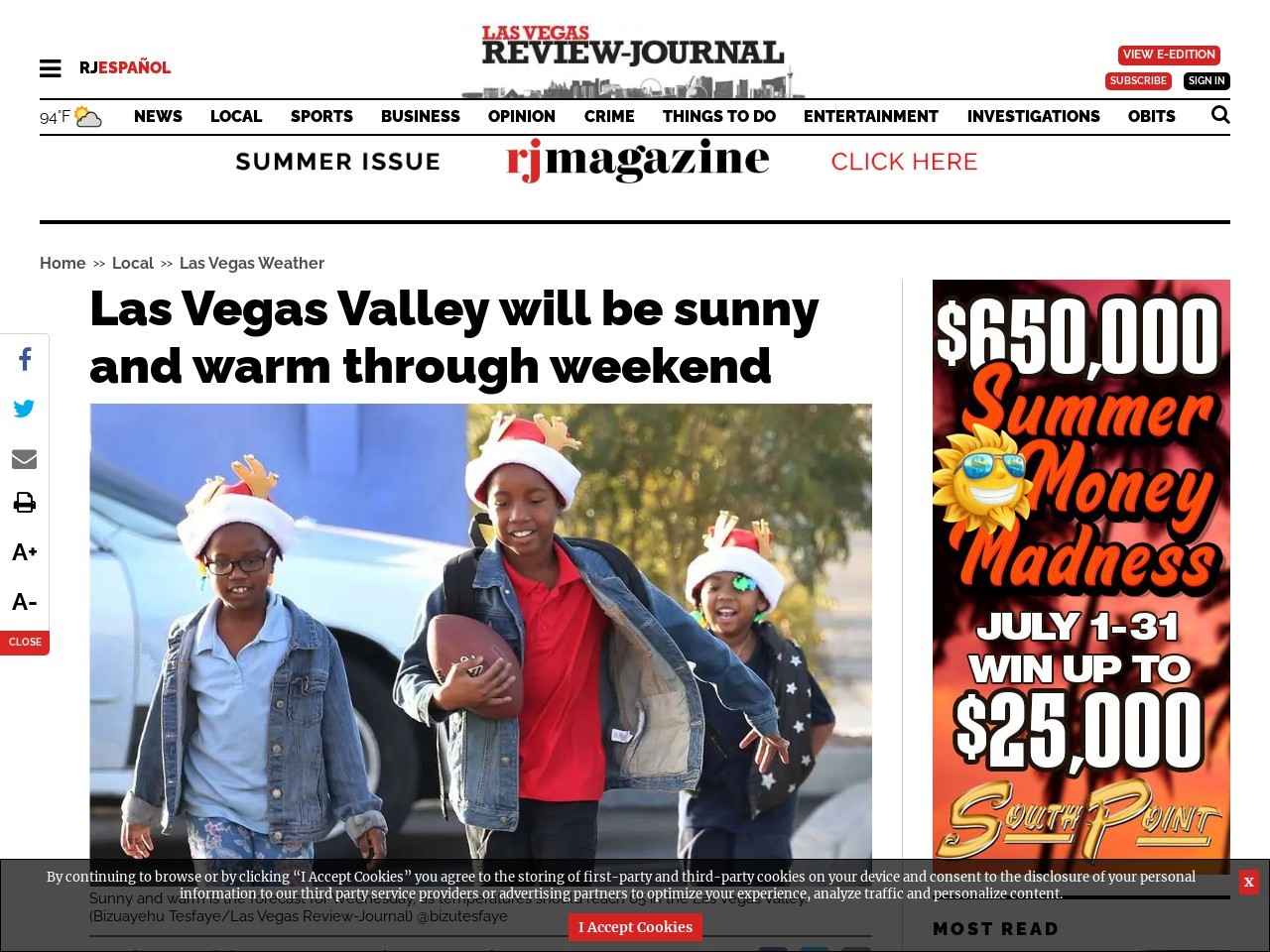 Las Vegas Valley will be sunny and warm through weekend