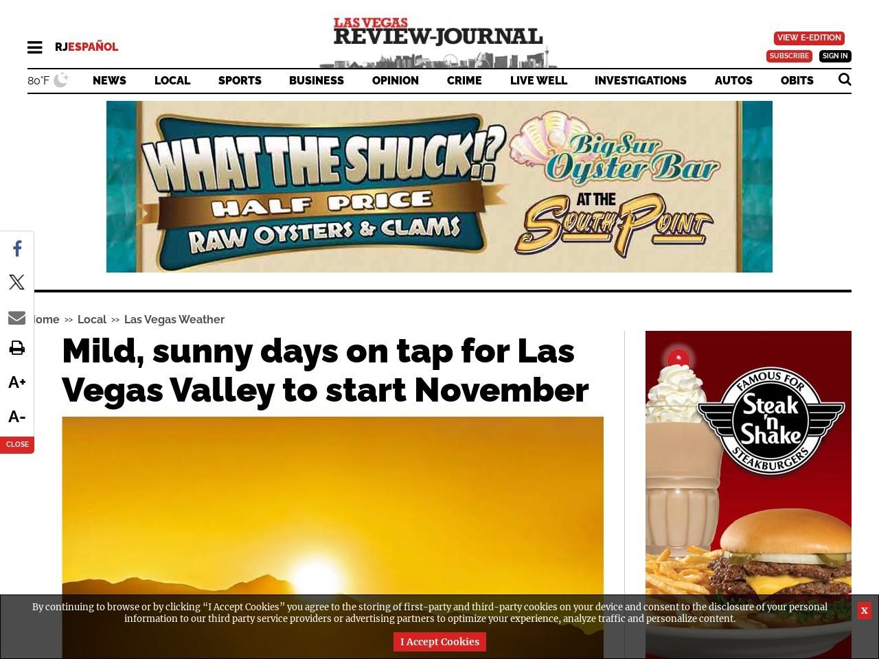 Mild, sunny days on tap for Las Vegas Valley to start November