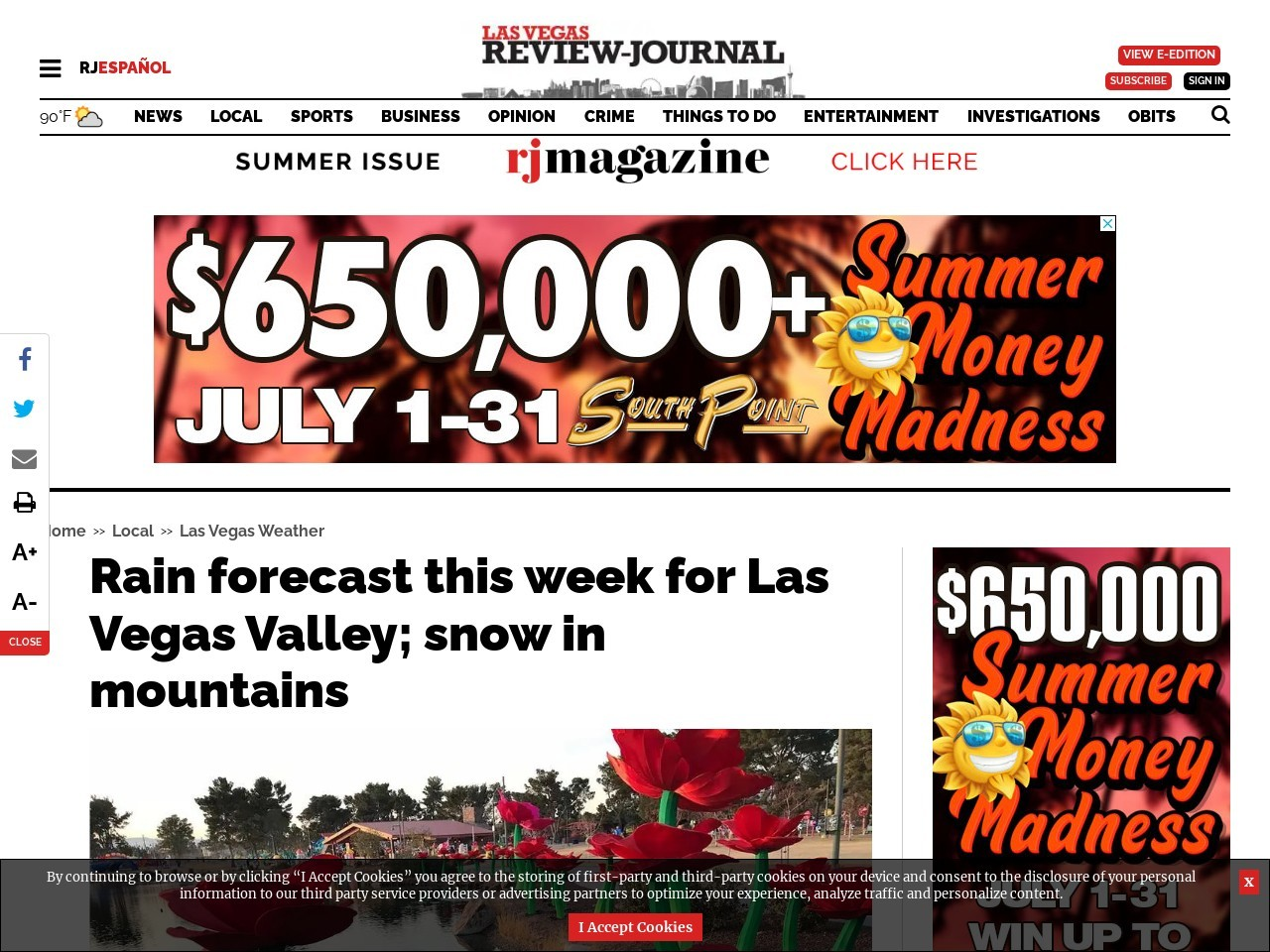 Rain forecast this week for Las Vegas Valley; snow in mountains
