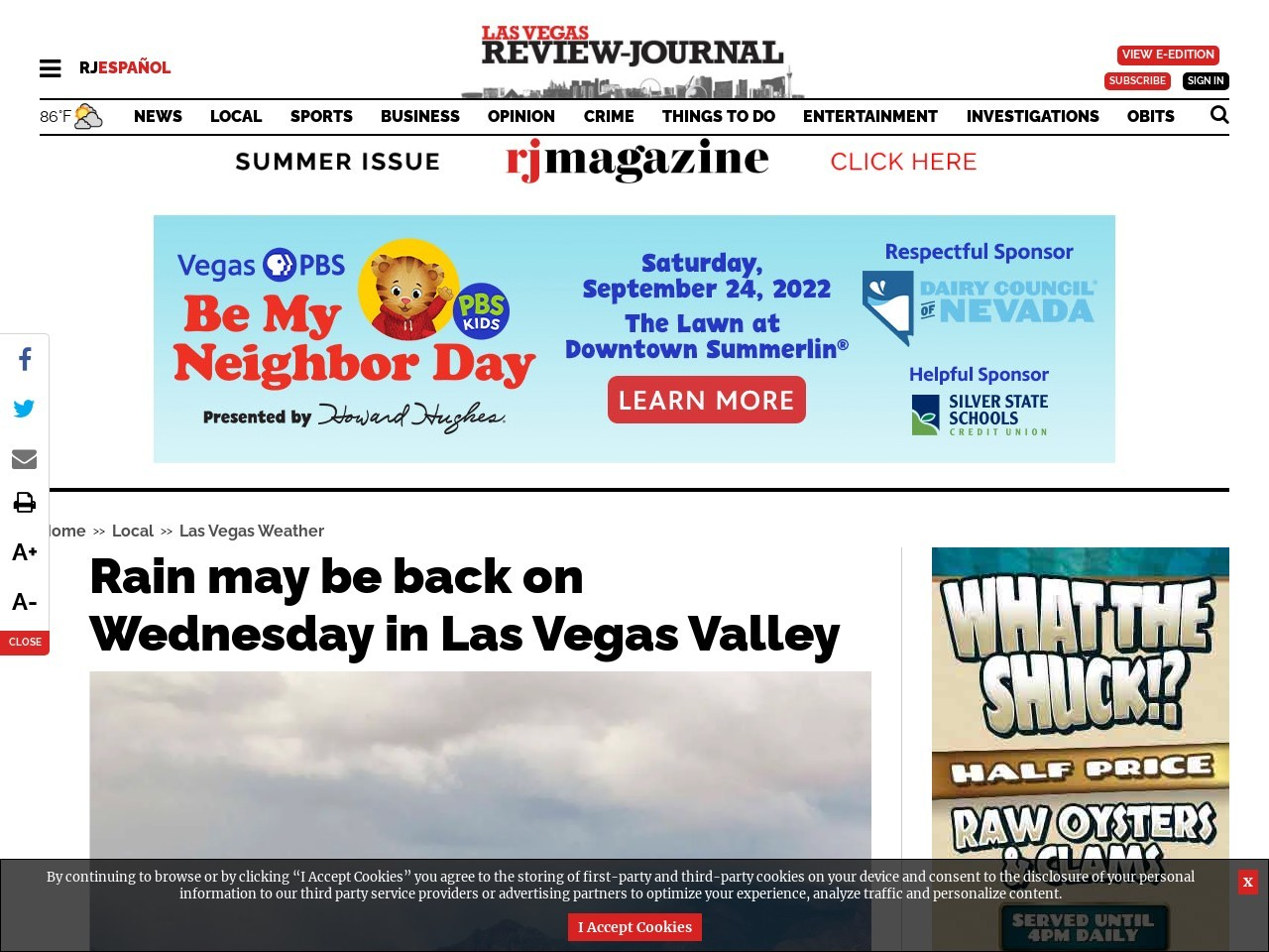 Rain may be back on Wednesday in Las Vegas Valley