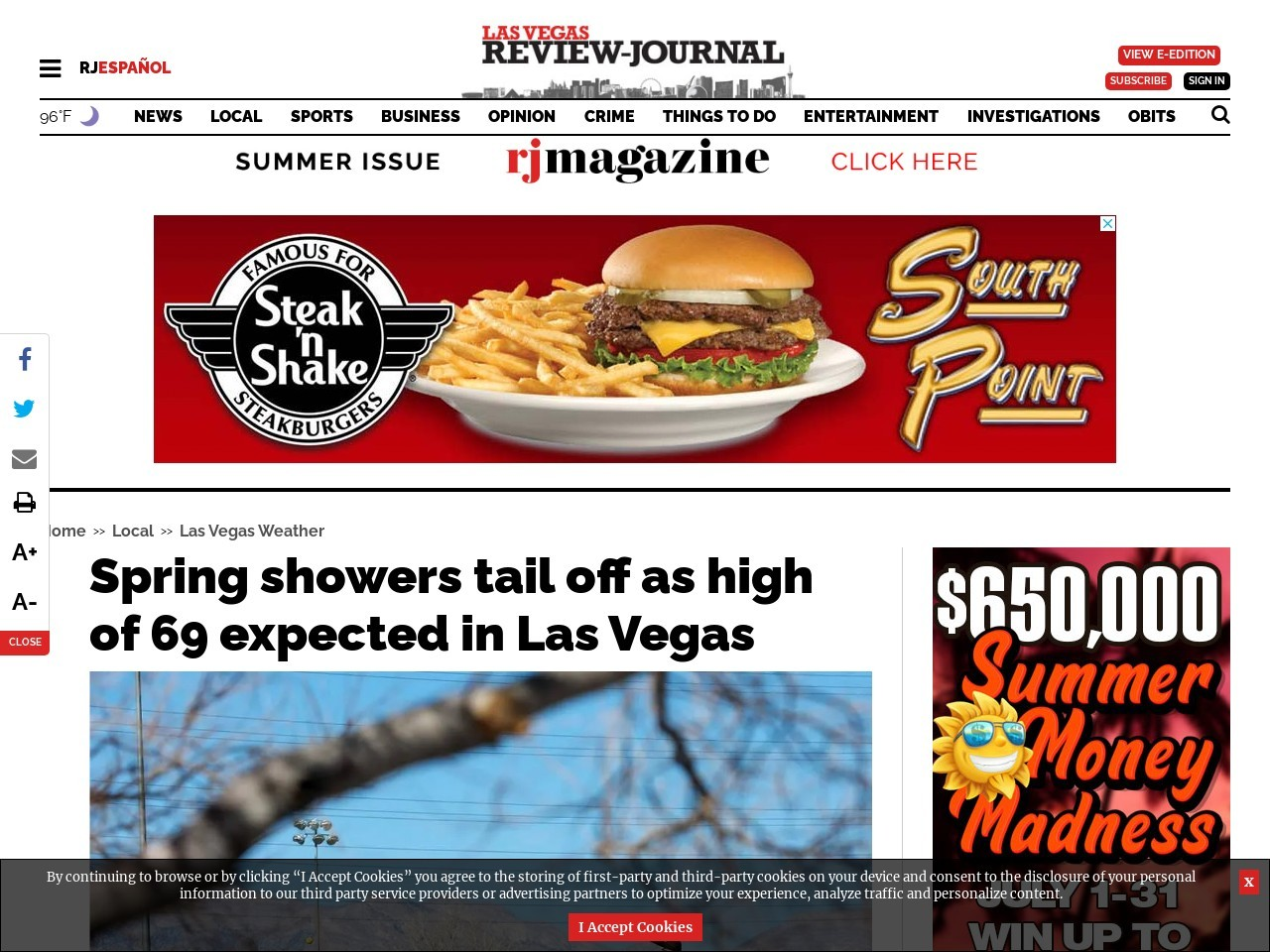 Spring showers tail off as high of 69 expected in Las Vegas
