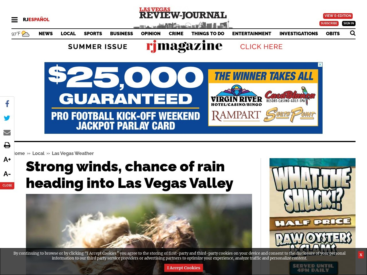 Strong winds, chance of rain heading into Las Vegas Valley