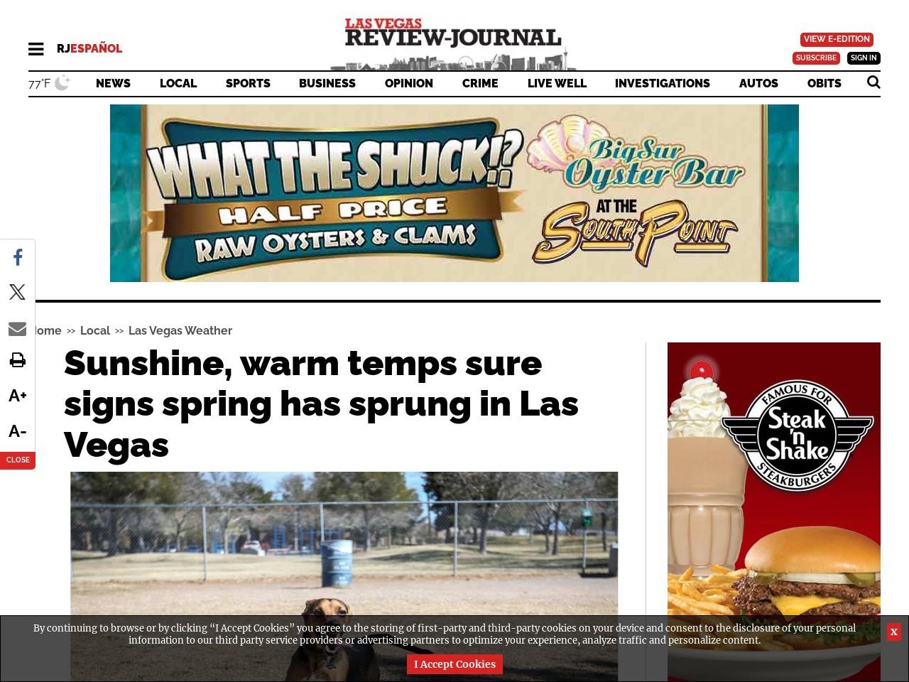 Sunshine, warm temps sure signs spring has sprung in Las Vegas