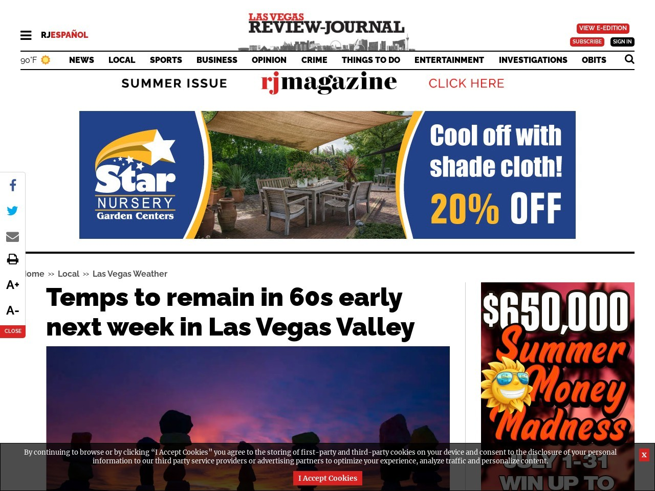 Temps to remain in 60s early next week in Las Vegas Valley