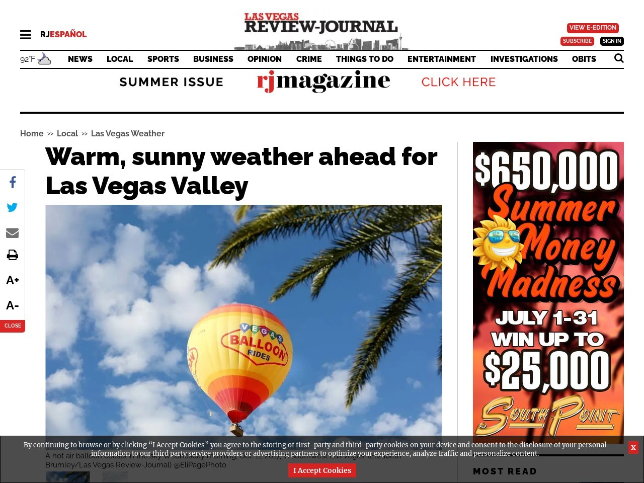 Warm, sunny weather ahead for Las Vegas Valley